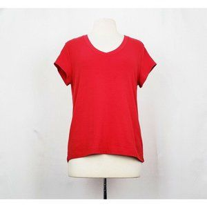 By Chico's Red V-Neck Short Sleeve Top 2 Misses L